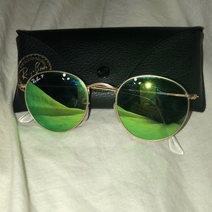 Ray Bans Round Green Polarized Lens